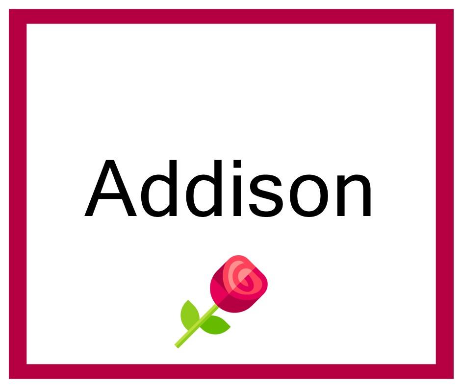 Combinaciones de Nombres Addison - Niña