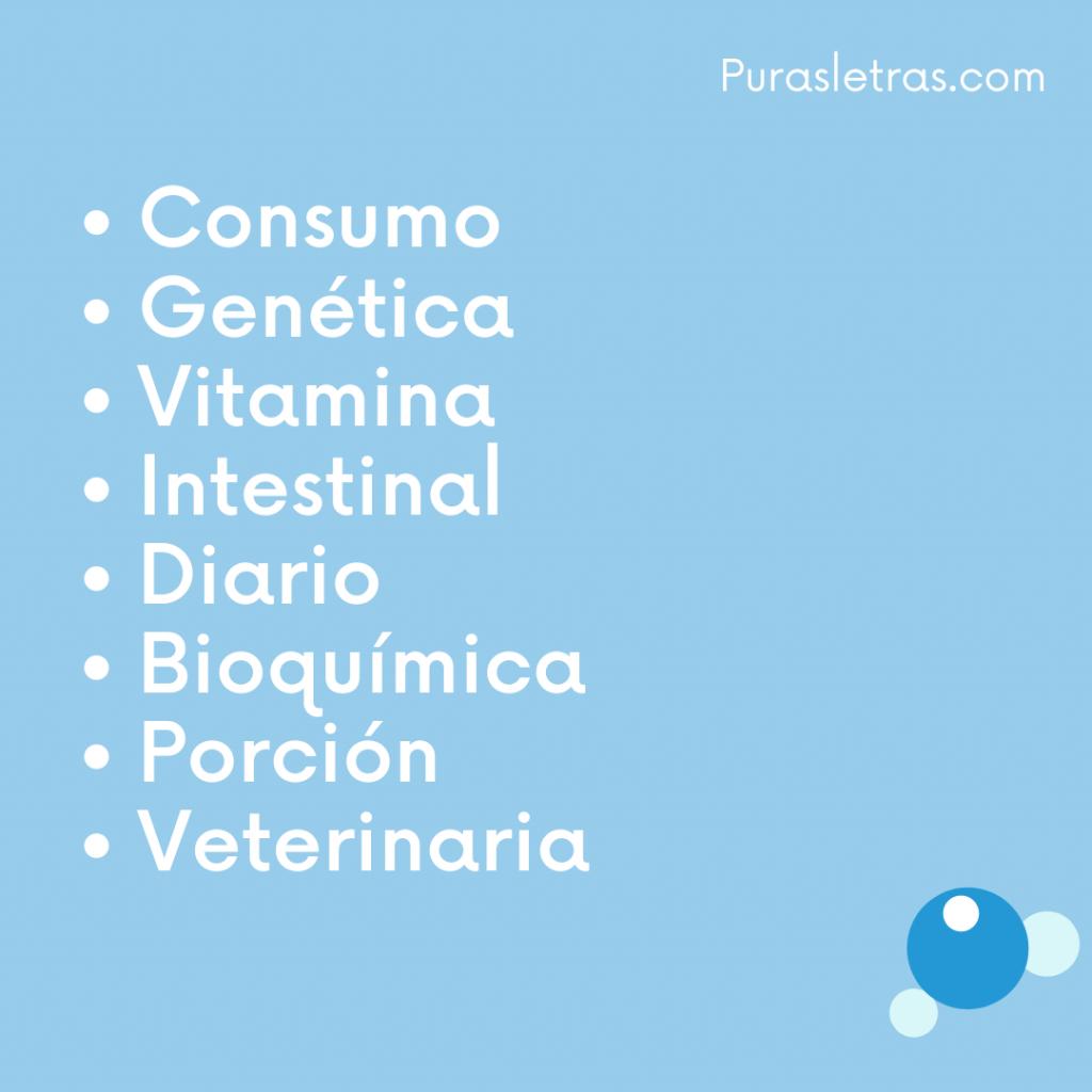 10 palabras relacionadas con la nutrición