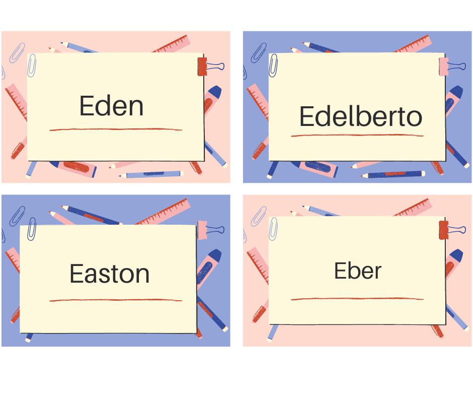 Nombres de hombre que empiezan con la E